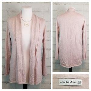 Zara Knit L Light Pink Open-Front Cardigan Sweater